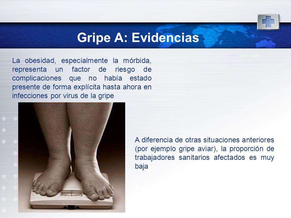 Gripe A: Evidencias La obesidad, especialmente la mórbida, representa un factor de riesgo de complicaciones que no había estado presente de forma expl