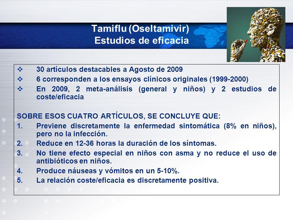 Tamiflu (Oseltamivir) Estudios de eficacia 30 artículos destacables a Agosto de 2009 6 corresponden a los ensayos clínicos originales (1999-2000) En 2