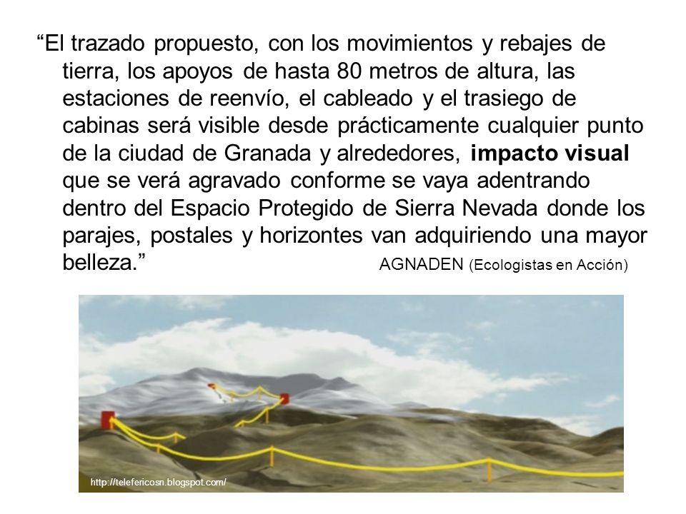 El trazado propuesto, con los movimientos y rebajes de tierra, los apoyos de hasta 80 metros de altura, las estaciones de reenvío, el cableado y el tr