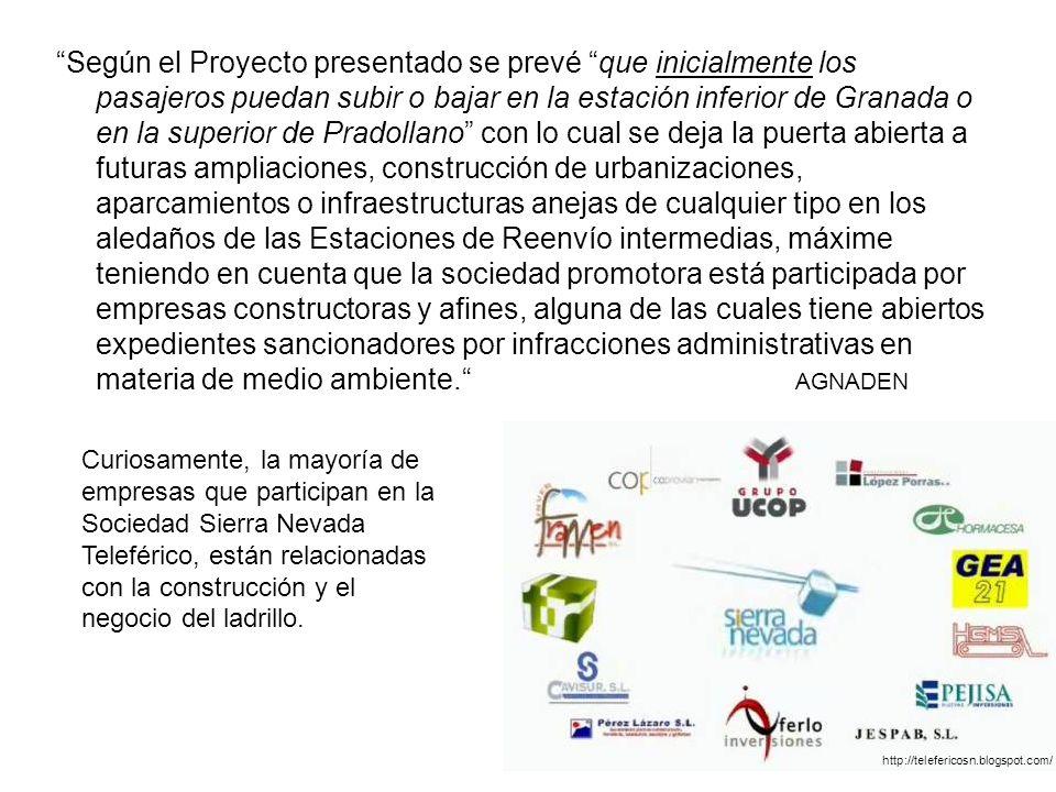 Según el Proyecto presentado se prevé que inicialmente los pasajeros puedan subir o bajar en la estación inferior de Granada o en la superior de Prado