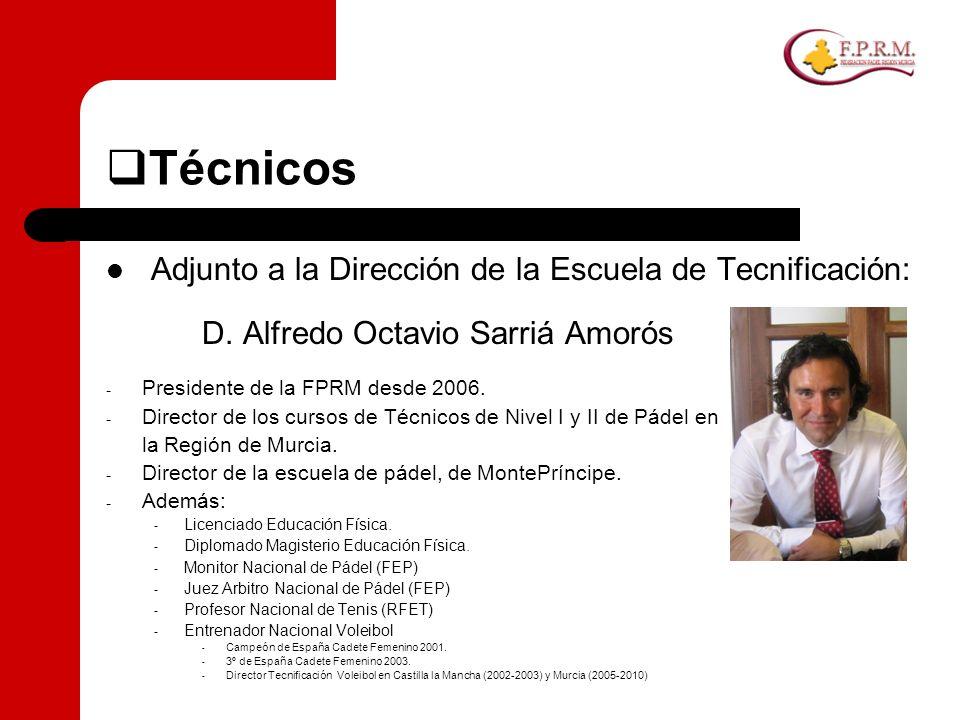 Técnicos Adjunto a la Dirección de la Escuela de Tecnificación: D. Alfredo Octavio Sarriá Amorós - Presidente de la FPRM desde 2006. - Director de los