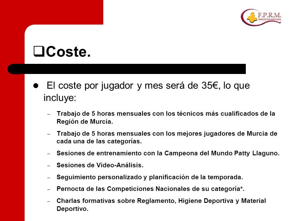 Coste. El coste por jugador y mes será de 35, lo que incluye: – Trabajo de 5 horas mensuales con los técnicos más cualificados de la Región de Murcia.