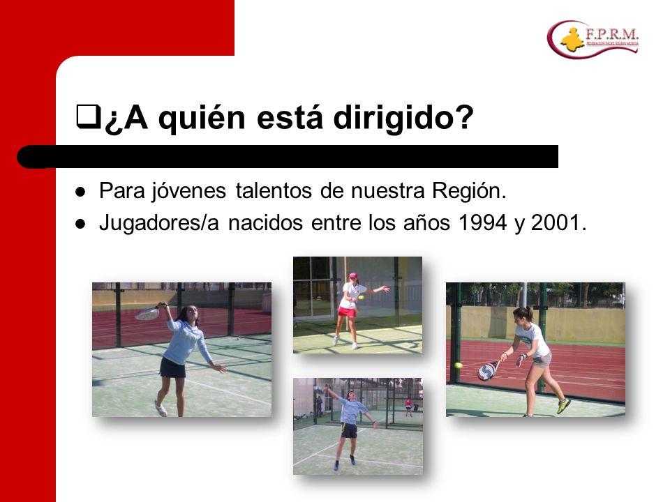 ¿A quién está dirigido? Para jóvenes talentos de nuestra Región. Jugadores/a nacidos entre los años 1994 y 2001.