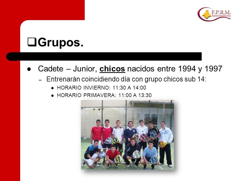 Grupos. Cadete – Junior, chicos nacidos entre 1994 y 1997 – Entrenarán coincidiendo día con grupo chicos sub 14: HORARIO INVIERNO: 11:30 A 14:00 HORAR