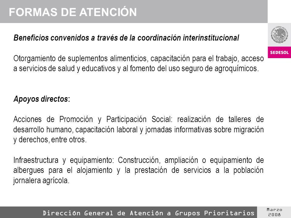 Marzo 2008 Dirección General de Atención a Grupos Prioritarios Beneficios convenidos a través de la coordinación interinstitucional Otorgamiento de suplementos alimenticios, capacitación para el trabajo, acceso a servicios de salud y educativos y al fomento del uso seguro de agroquímicos.