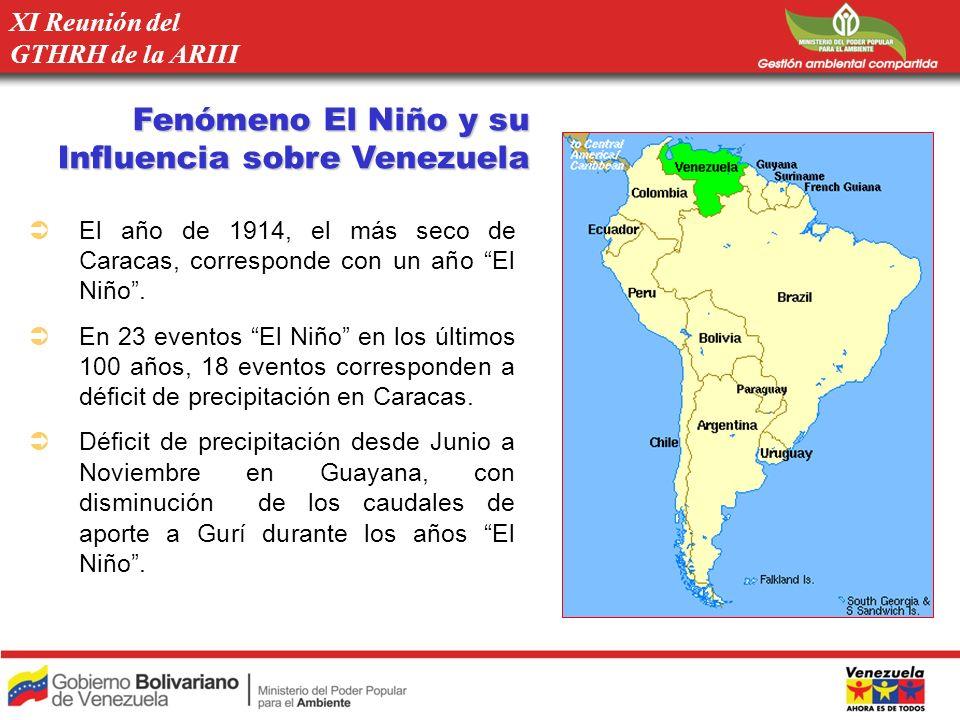 Fenómeno El Niño y su Influencia sobre Venezuela El año de 1914, el más seco de Caracas, corresponde con un año El Niño. En 23 eventos El Niño en los