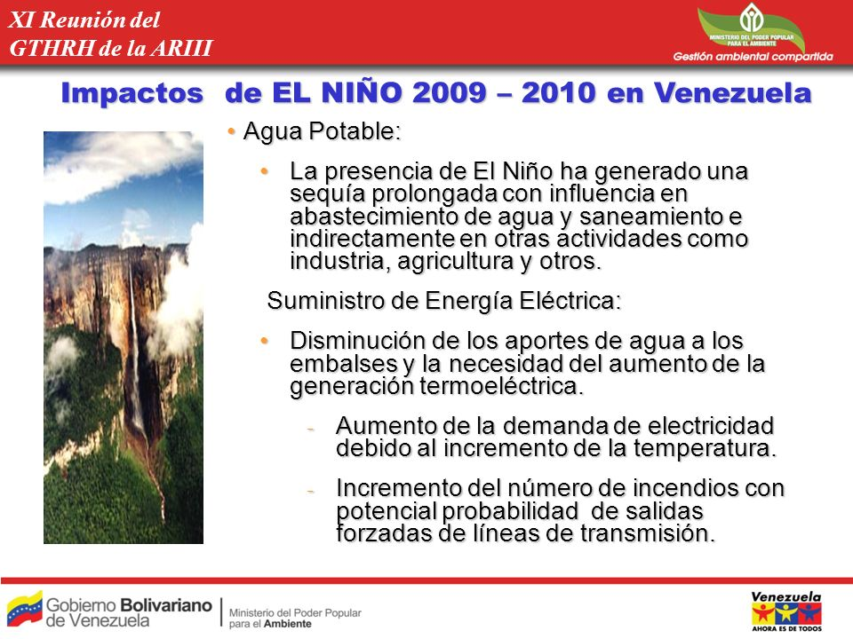 Impactos de EL NIÑO 2009 – 2010 en Venezuela Agua Potable:Agua Potable: La presencia de El Niño ha generado una sequía prolongada con influencia en ab