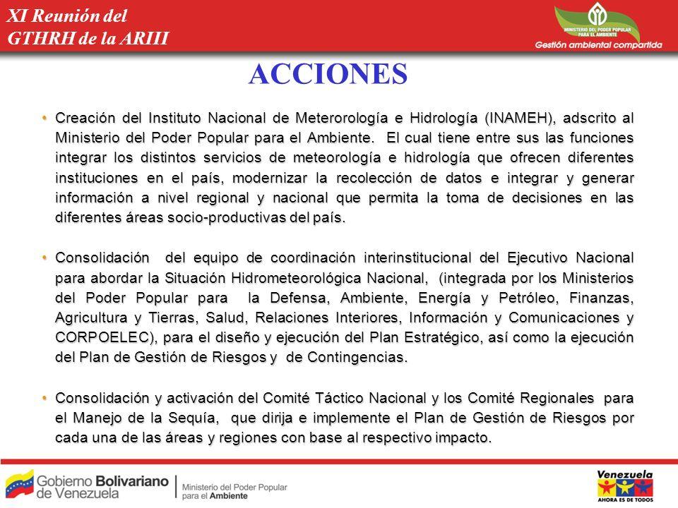 ACCIONES XI Reunión del GTHRH de la ARIII Creación del Instituto Nacional de Meterorología e Hidrología (INAMEH), adscrito al Ministerio del Poder Pop