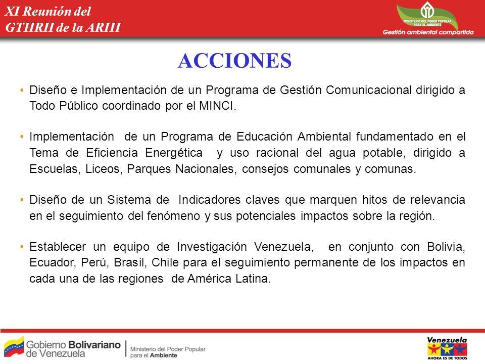 ACCIONES Diseño e Implementación de un Programa de Gestión Comunicacional dirigido a Todo Público coordinado por el MINCI. Implementación de un Progra