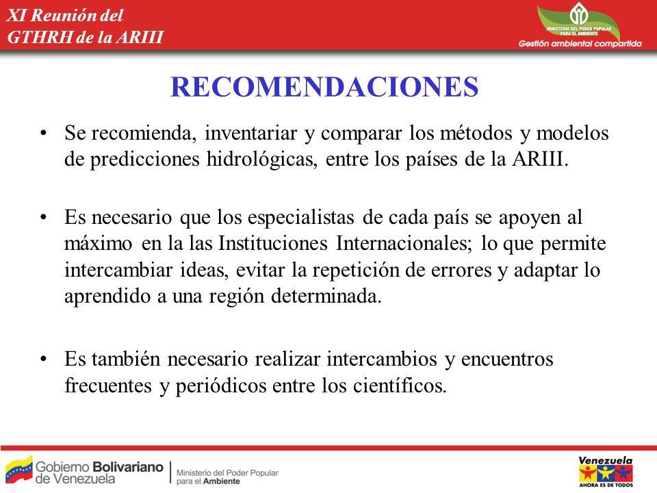 RECOMENDACIONES Se recomienda, inventariar y comparar los métodos y modelos de predicciones hidrológicas, entre los países de la ARIII. Es necesario q