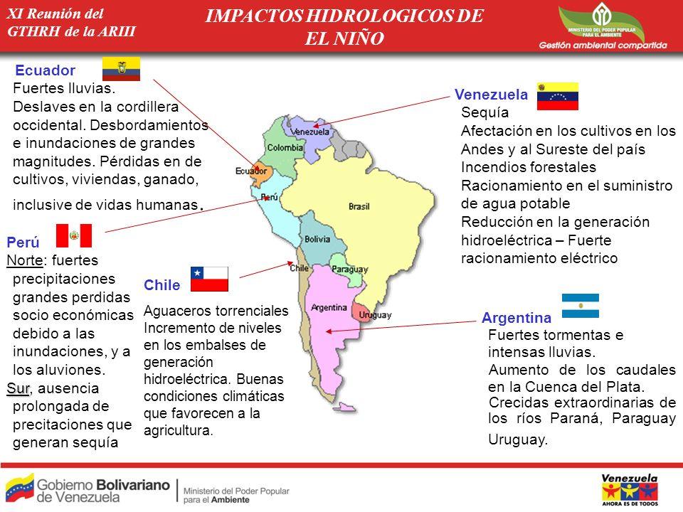 XI Reunión del GTHRH de la ARIII SEQUÍAS INUNDACIONES IMPACTOS HIDROLOGICOS DE LA NIÑA EN AMERICA DEL SUR