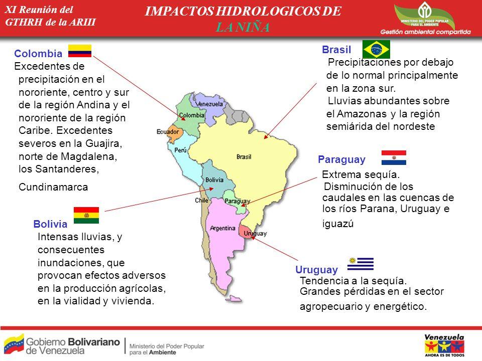 Paraguay Extrema sequía. Disminución de los caudales en las cuencas de los ríos Parana, Uruguay e iguazú Colombia Excedentes de precipitación en el no