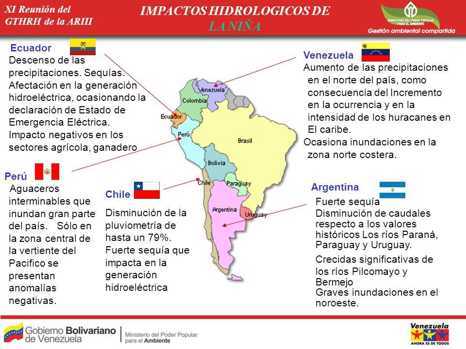 XI Reunión del GTHRH de la ARIII IMPACTOS HIDROLOGICOS DE LA NIÑA Ecuador -Descenso de las precipitaciones. Sequías. -Afectación en la generación hidr