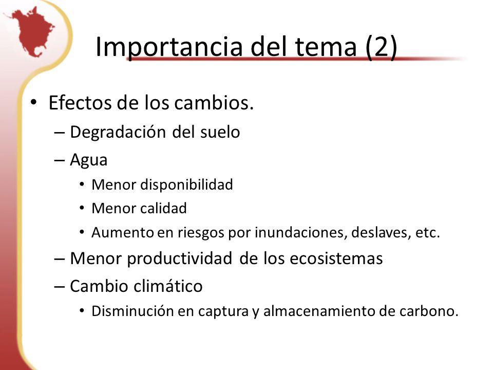 Importancia del tema (2) Efectos de los cambios.