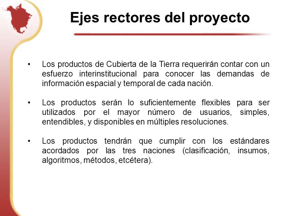 Ejes rectores del proyecto Los productos de Cubierta de la Tierra requerirán contar con un esfuerzo interinstitucional para conocer las demandas de información espacial y temporal de cada nación.