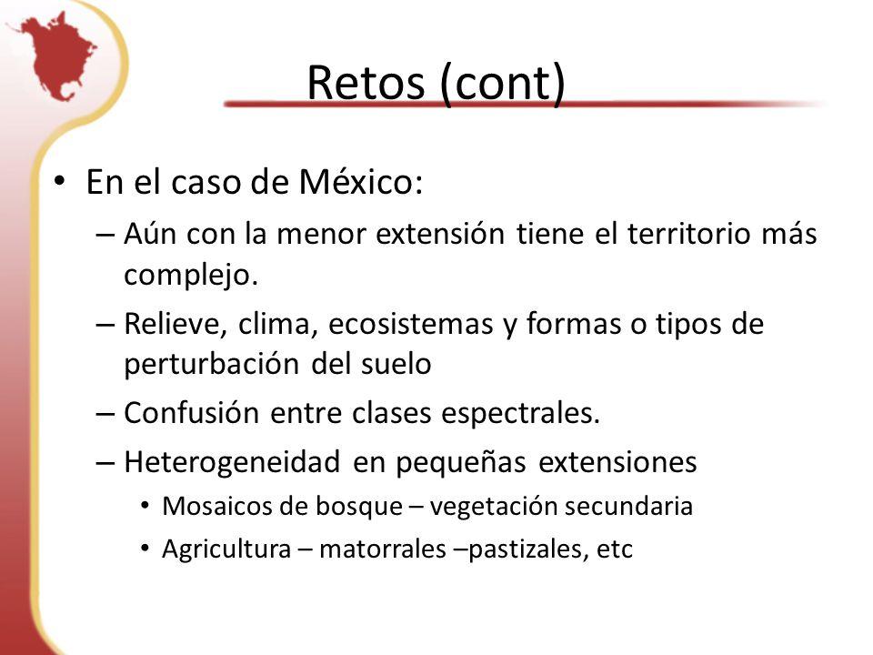 Retos (cont) En el caso de México: – Aún con la menor extensión tiene el territorio más complejo.