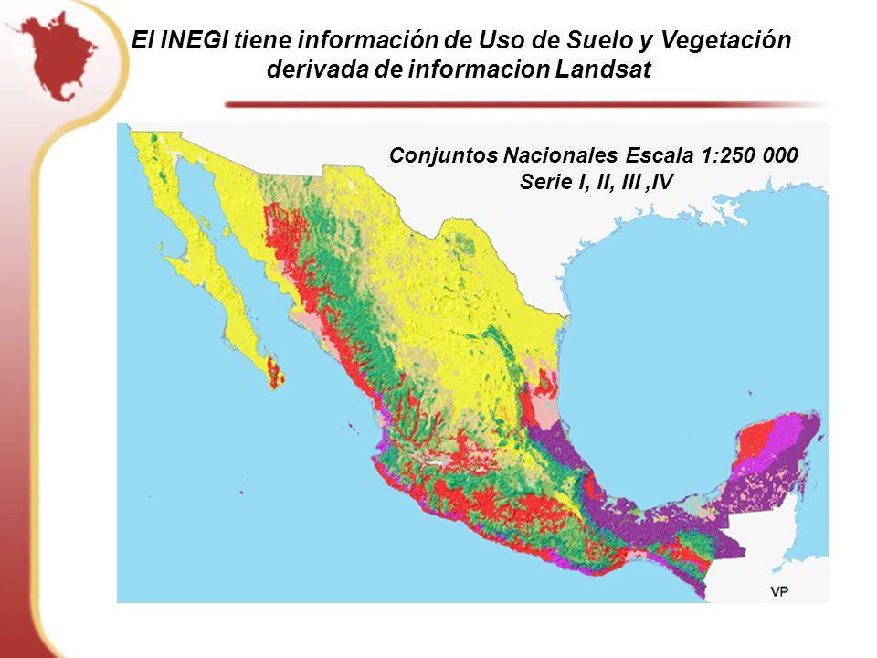 Conjuntos Nacionales Escala 1:250 000 Serie I, II, III,IV El INEGI tiene información de Uso de Suelo y Vegetación derivada de informacion Landsat