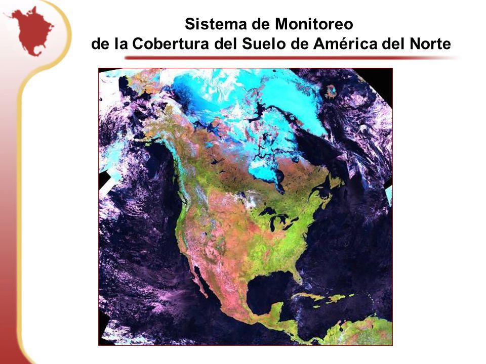 Retos: Tamaño del subcontinente ~ 22 millones de km2 Canadá 9.98 EUA 9.83 México: 1.97 Complejidad: – Desde glaciares, tundra, coníferas, a bosques tropicales – Diferentes fuentes de información base, sistemas de clasificación