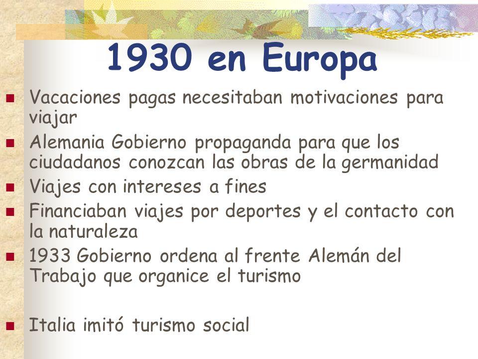 1930 en Europa Vacaciones pagas necesitaban motivaciones para viajar Alemania Gobierno propaganda para que los ciudadanos conozcan las obras de la ger