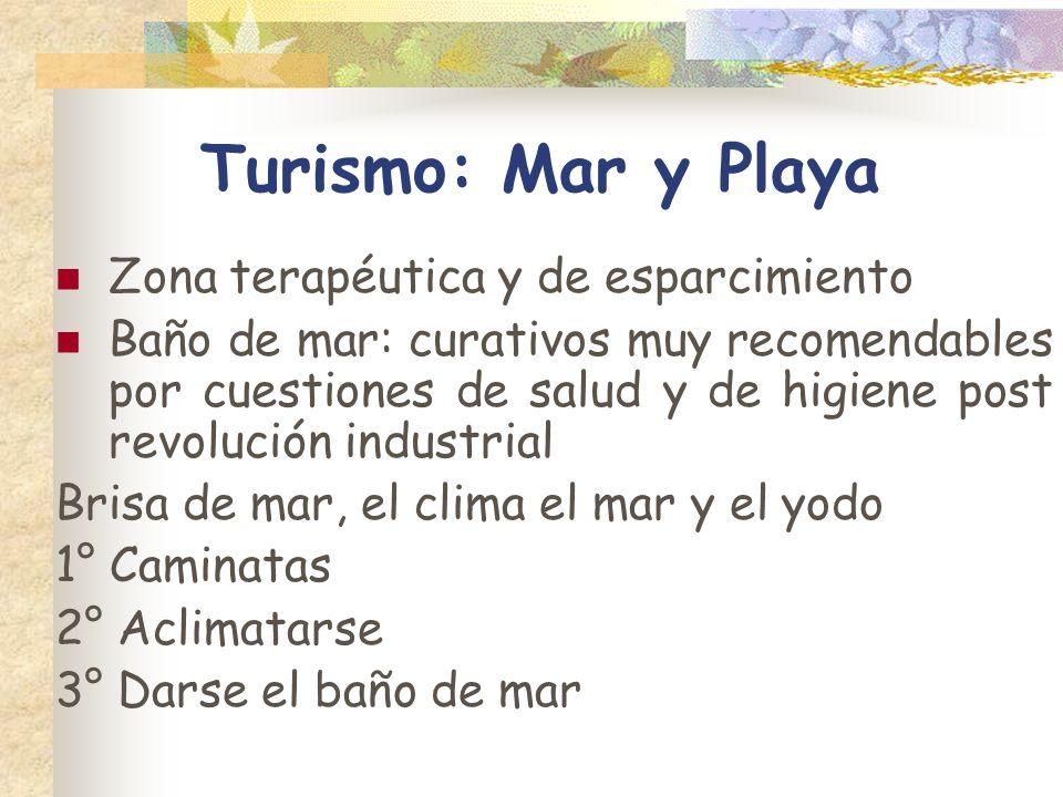 Turismo: Mar y Playa Zona terapéutica y de esparcimiento Baño de mar: curativos muy recomendables por cuestiones de salud y de higiene post revolución