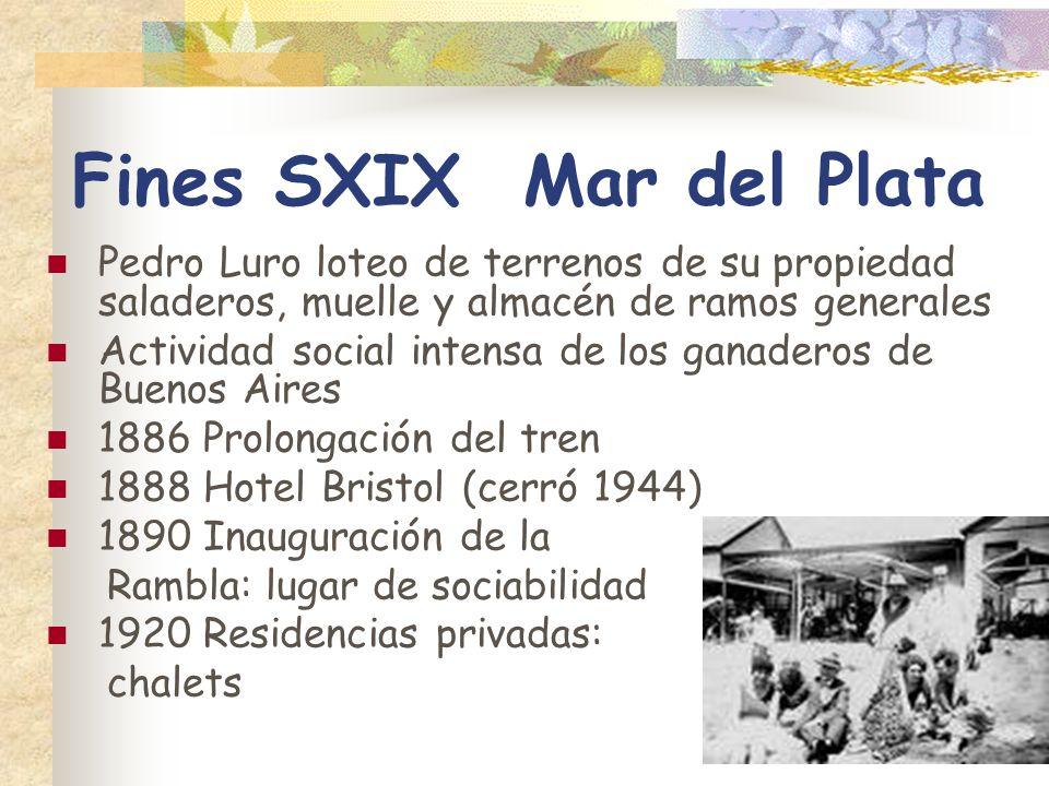 Fines SXIX Mar del Plata Pedro Luro loteo de terrenos de su propiedad saladeros, muelle y almacén de ramos generales Actividad social intensa de los g