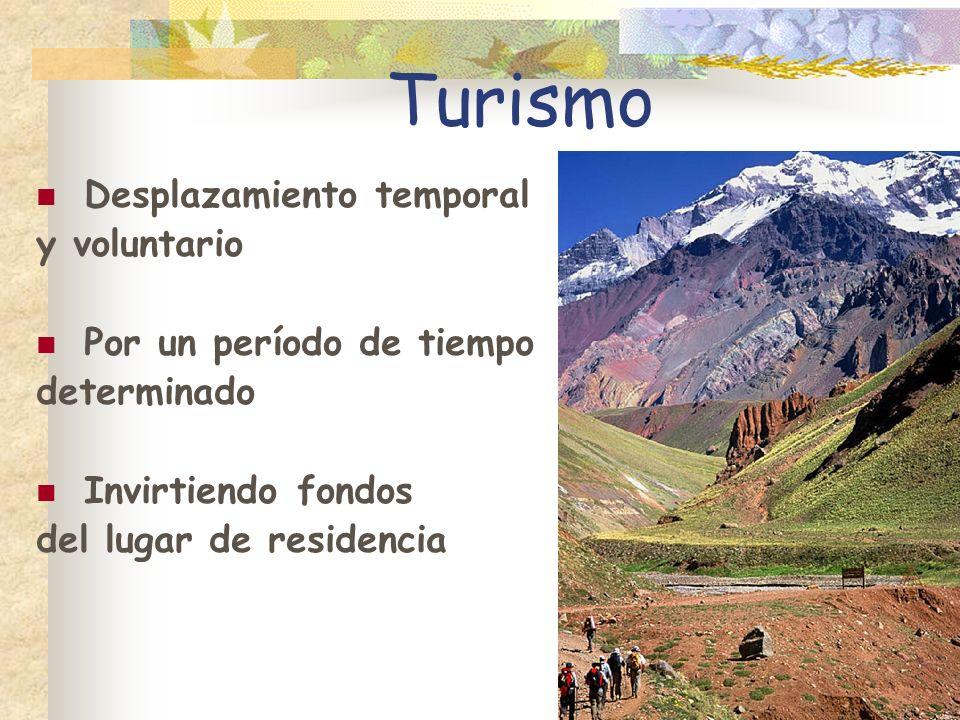 Turismo Desplazamiento temporal y voluntario Por un período de tiempo determinado Invirtiendo fondos del lugar de residencia