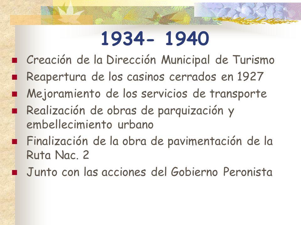 1934- 1940 Creación de la Dirección Municipal de Turismo Reapertura de los casinos cerrados en 1927 Mejoramiento de los servicios de transporte Realiz