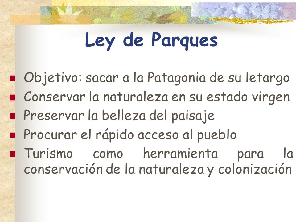 Ley de Parques Objetivo: sacar a la Patagonia de su letargo Conservar la naturaleza en su estado virgen Preservar la belleza del paisaje Procurar el r
