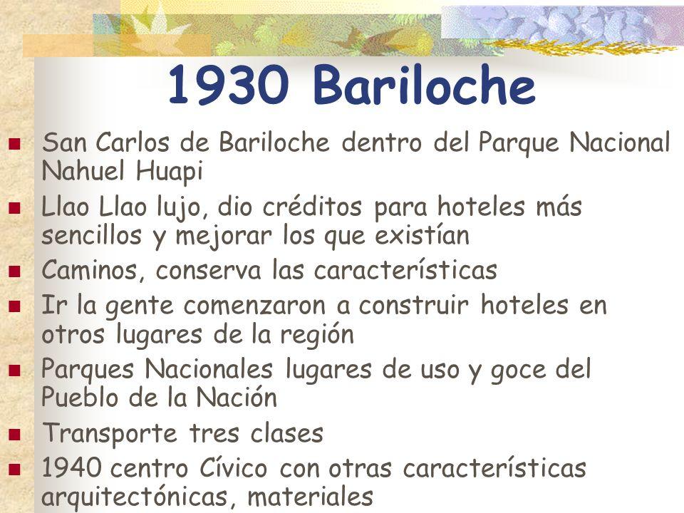 1930 Bariloche San Carlos de Bariloche dentro del Parque Nacional Nahuel Huapi Llao Llao lujo, dio créditos para hoteles más sencillos y mejorar los q