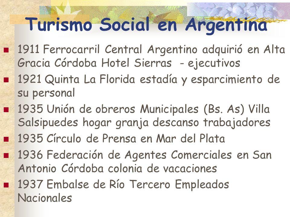 Turismo Social en Argentina 1911 Ferrocarril Central Argentino adquirió en Alta Gracia Córdoba Hotel Sierras - ejecutivos 1921 Quinta La Florida estad