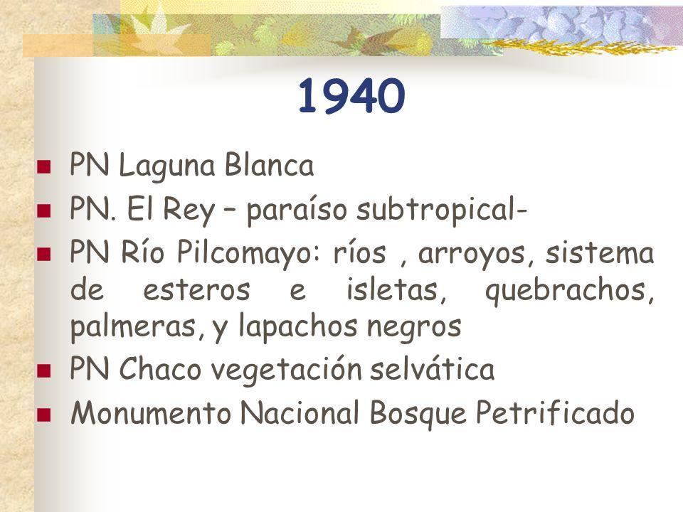 1940 PN Laguna Blanca PN. El Rey – paraíso subtropical- PN Río Pilcomayo: ríos, arroyos, sistema de esteros e isletas, quebrachos, palmeras, y lapacho