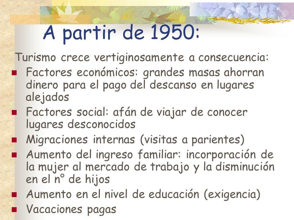 A partir de 1950: Turismo crece vertiginosamente a consecuencia: Factores económicos: grandes masas ahorran dinero para el pago del descanso en lugare