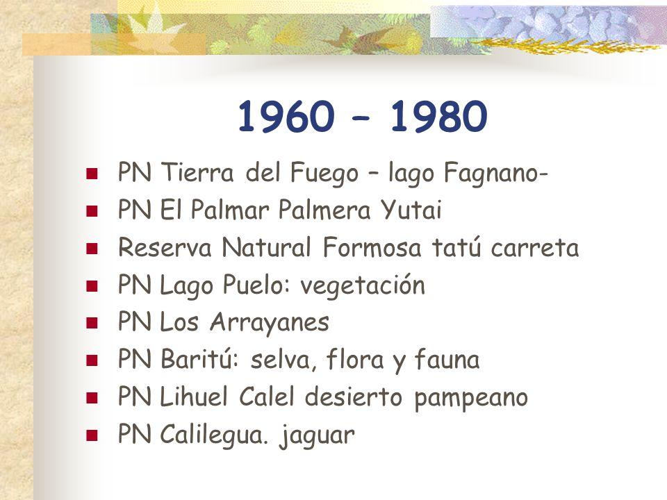 1960 – 1980 PN Tierra del Fuego – lago Fagnano- PN El Palmar Palmera Yutai Reserva Natural Formosa tatú carreta PN Lago Puelo: vegetación PN Los Array