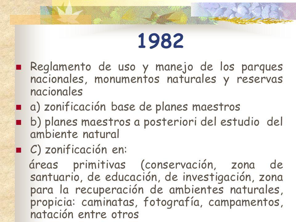 1982 Reglamento de uso y manejo de los parques nacionales, monumentos naturales y reservas nacionales a) zonificación base de planes maestros b) plane