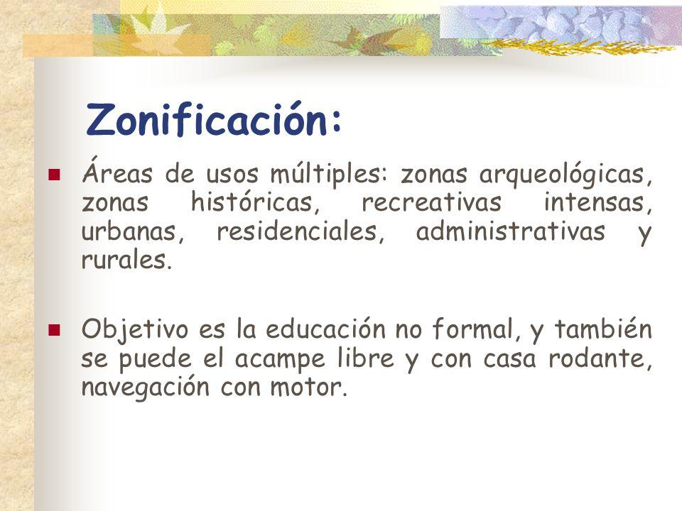 Zonificación: Áreas de usos múltiples: zonas arqueológicas, zonas históricas, recreativas intensas, urbanas, residenciales, administrativas y rurales.