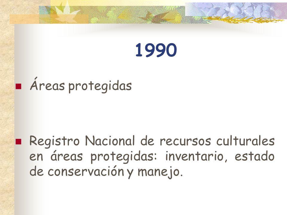 1990 Áreas protegidas Registro Nacional de recursos culturales en áreas protegidas: inventario, estado de conservación y manejo.