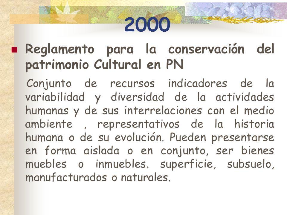 2000 Reglamento para la conservación del patrimonio Cultural en PN Conjunto de recursos indicadores de la variabilidad y diversidad de la actividades