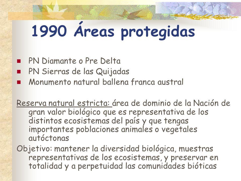 1990 Áreas protegidas PN Diamante o Pre Delta PN Sierras de las Quijadas Monumento natural ballena franca austral Reserva natural estricta: área de do
