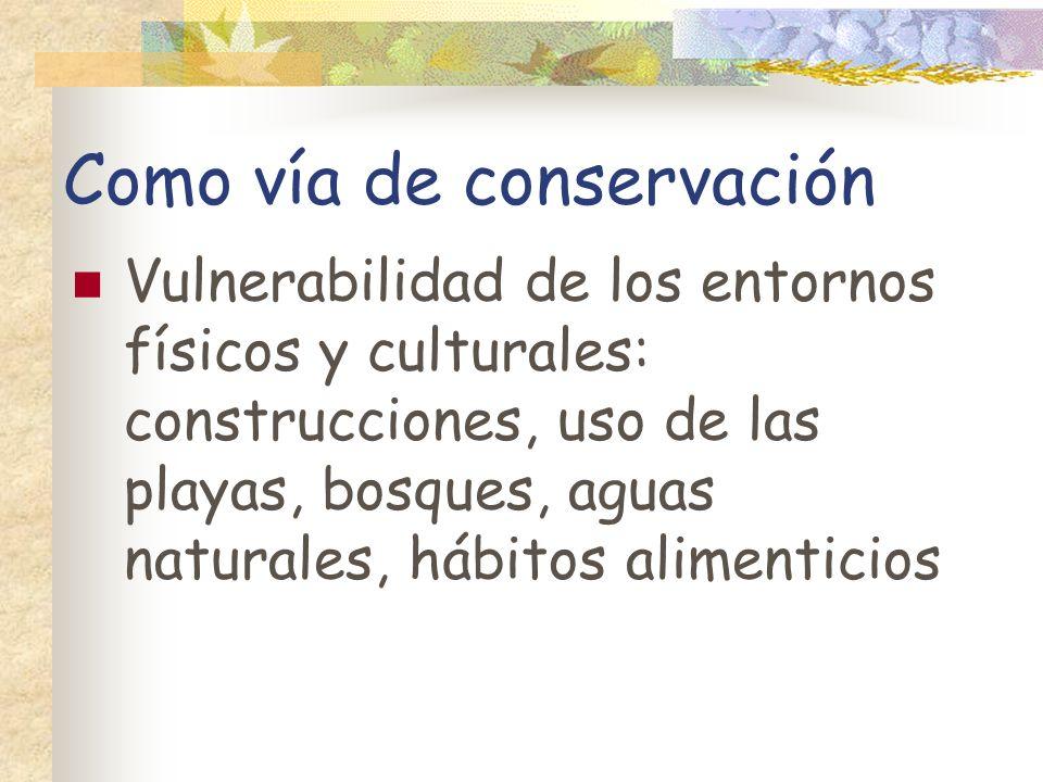 Como vía de conservación Vulnerabilidad de los entornos físicos y culturales: construcciones, uso de las playas, bosques, aguas naturales, hábitos ali
