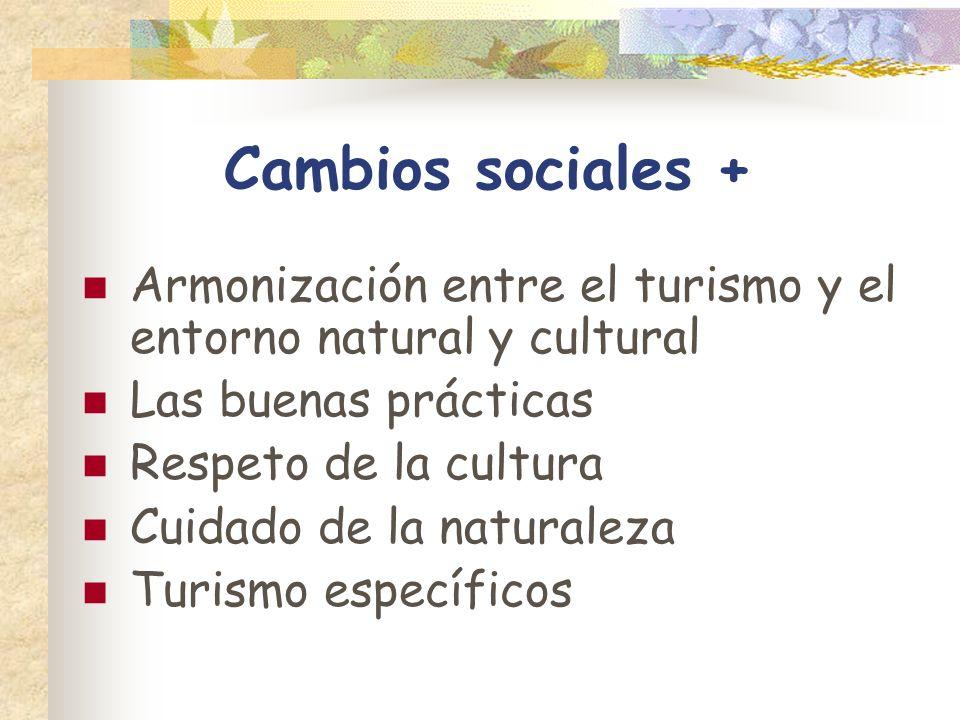Cambios sociales + Armonización entre el turismo y el entorno natural y cultural Las buenas prácticas Respeto de la cultura Cuidado de la naturaleza T
