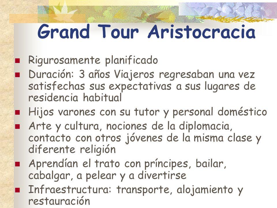Grand Tour Aristocracia Rigurosamente planificado Duración: 3 años Viajeros regresaban una vez satisfechas sus expectativas a sus lugares de residenci