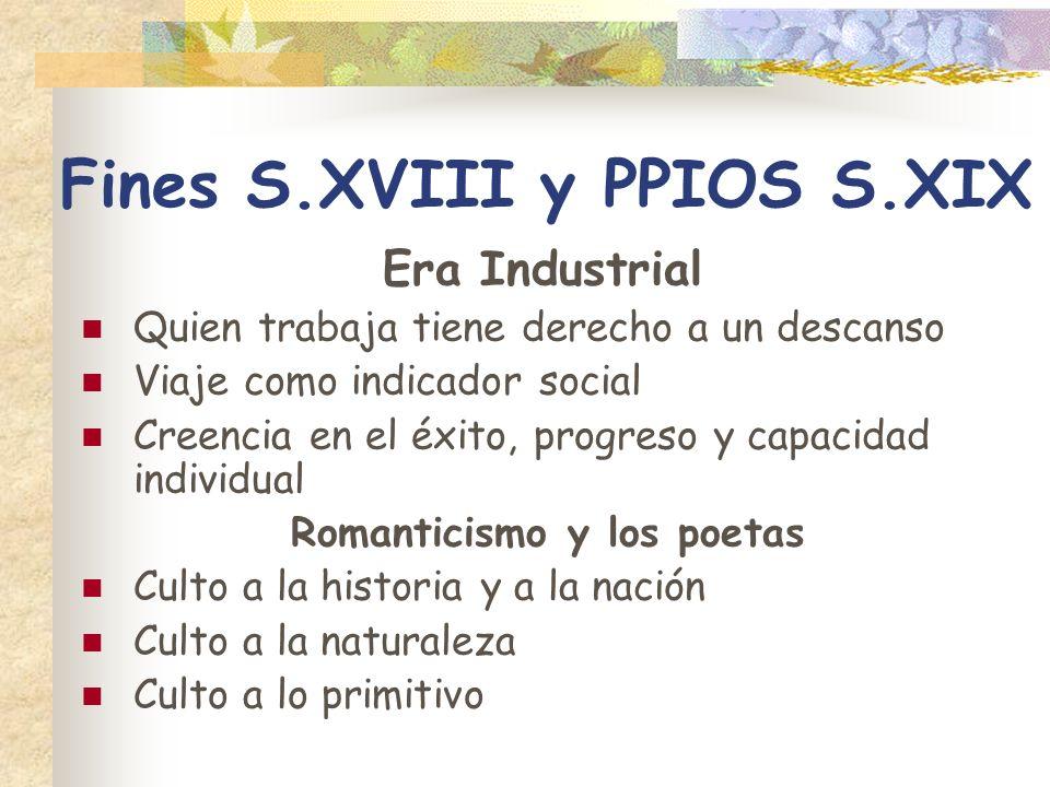 Fines S.XVIII y PPIOS S.XIX Era Industrial Quien trabaja tiene derecho a un descanso Viaje como indicador social Creencia en el éxito, progreso y capa