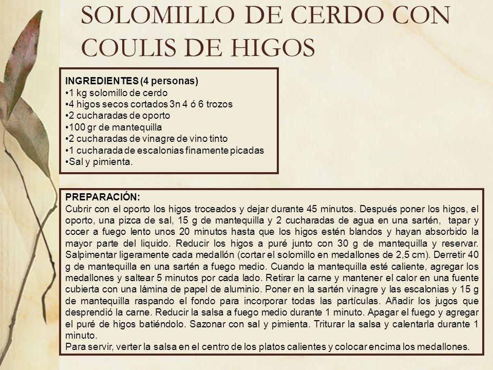 SOLOMILLO CON HONGOS INGREDIENTES (4 personas) 2 kg solomillo 1 kg de hongos 3 dientes de ajo 100 gr de tocineta 8 ciruelas pasas 4 orejones de melocotón 8 orejones de albaricoque 50 gr uvas pasas 8 hijos secos ¼ l de vino tinto Aceite, sal, pimienta negra y perejil picado PREPARACIÓN: Pica la tocineta en cuadraditos y freírlos brevemente en una cazuela sin aceite.