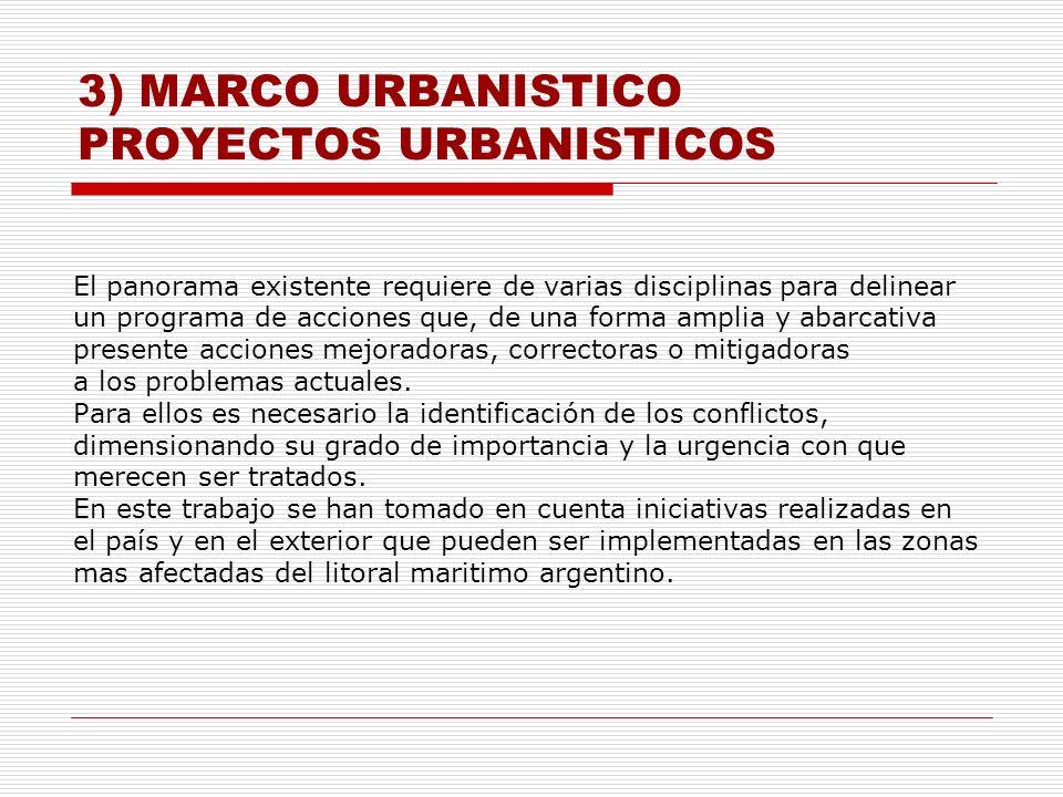 3) MARCO URBANISTICO PROYECTOS URBANISTICOS El panorama existente requiere de varias disciplinas para delinear un programa de acciones que, de una for