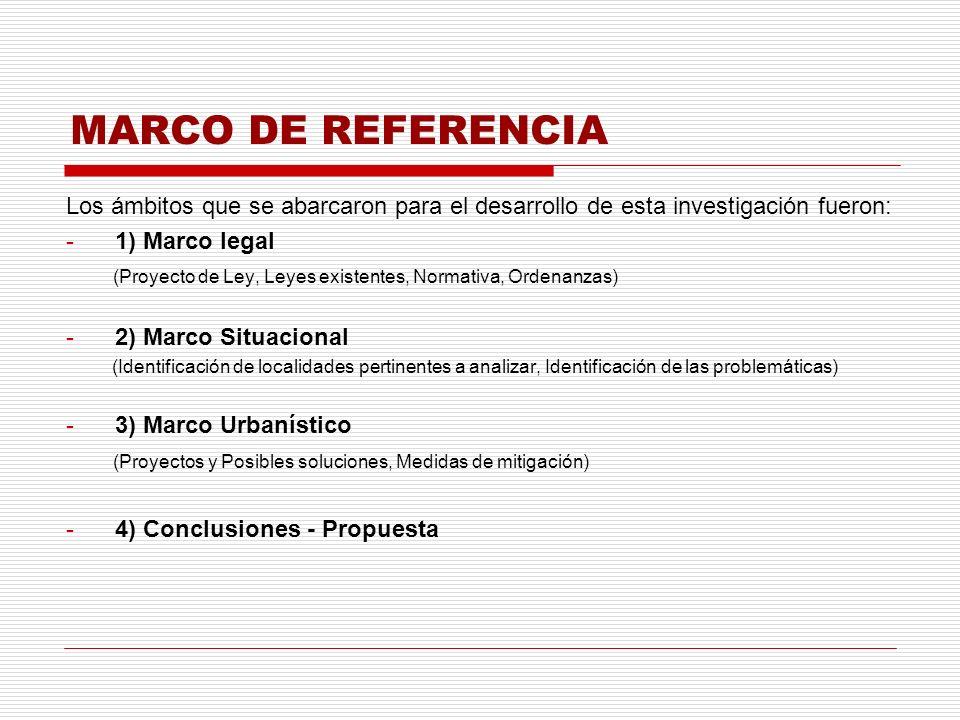 MARCO DE REFERENCIA Los ámbitos que se abarcaron para el desarrollo de esta investigación fueron: -1) Marco legal (Proyecto de Ley, Leyes existentes,
