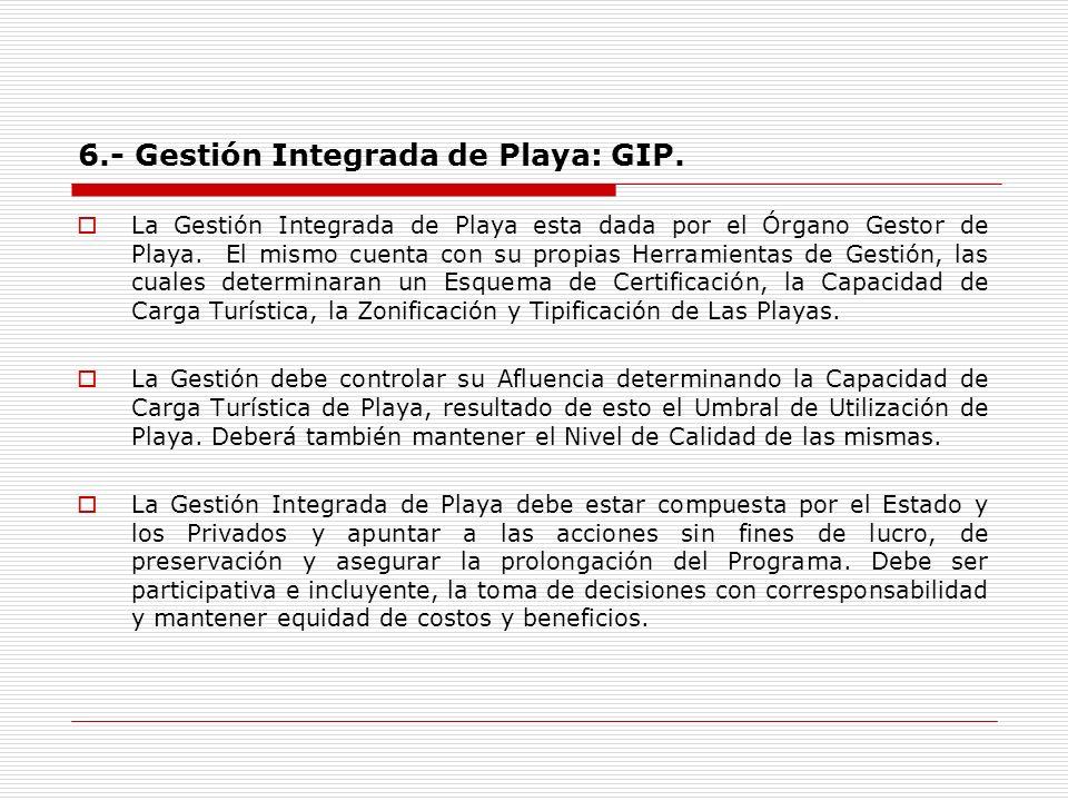 6.- Gestión Integrada de Playa: GIP. La Gestión Integrada de Playa esta dada por el Órgano Gestor de Playa. El mismo cuenta con su propias Herramienta
