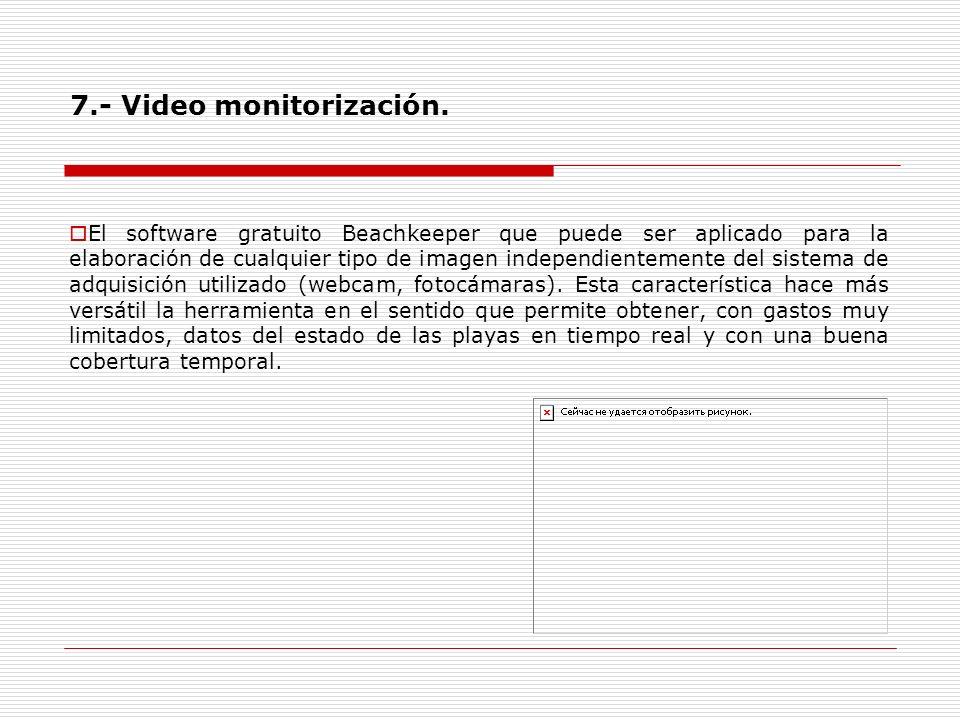 7.- Video monitorización. El software gratuito Beachkeeper que puede ser aplicado para la elaboración de cualquier tipo de imagen independientemente d