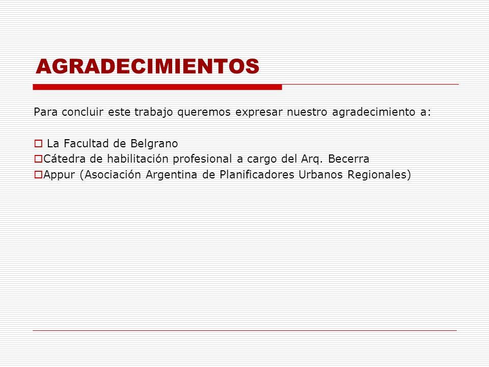 AGRADECIMIENTOS Para concluir este trabajo queremos expresar nuestro agradecimiento a: La Facultad de Belgrano Cátedra de habilitación profesional a c