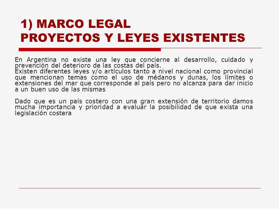 1) MARCO LEGAL PROYECTOS Y LEYES EXISTENTES En Argentina no existe una ley que concierne al desarrollo, cuidado y prevención del deterioro de las cost