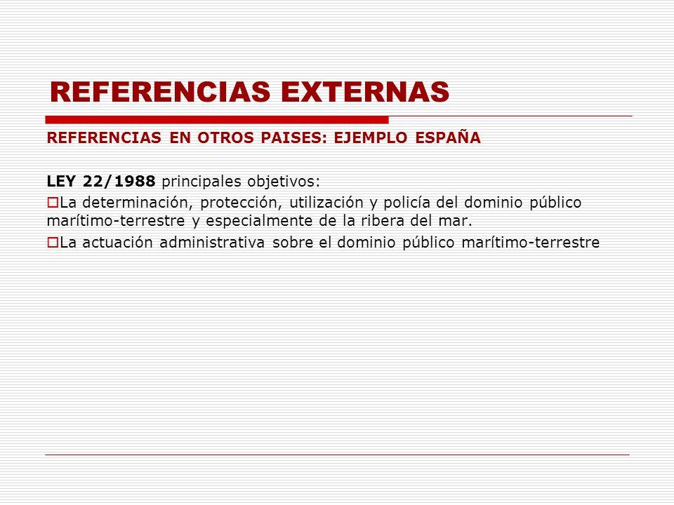 REFERENCIAS EXTERNAS REFERENCIAS EN OTROS PAISES: EJEMPLO ESPAÑA LEY 22/1988 principales objetivos: La determinación, protección, utilización y policí